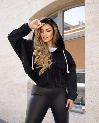 Жіноча куртка вітровка №1 (чорний)