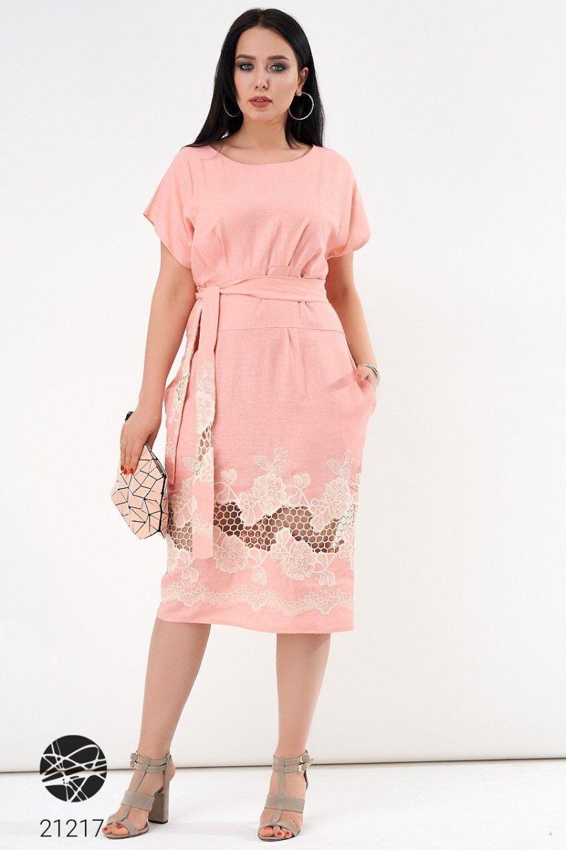 Лляна сукня 21217 рожевий