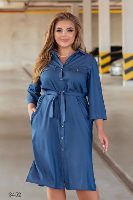 Джинсова сукня-сорочка 34521 синій